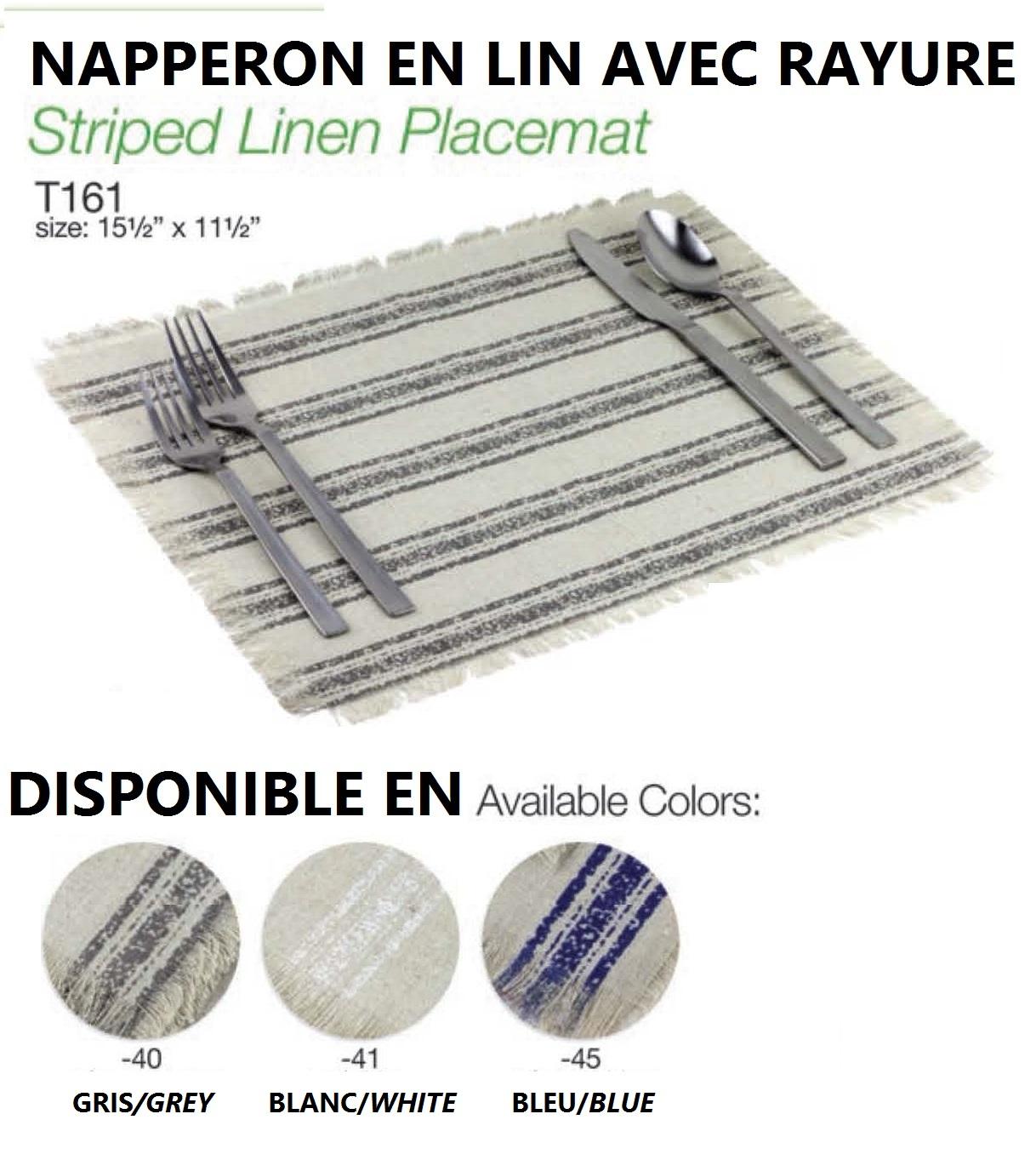 15 5 X 11 5 Striped Linen Placemat