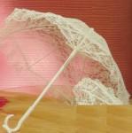 """3353- 23 """" White Lace Parasol #335"""