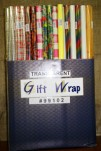 99102 Transparent Printed Giftwrap (box Of 120 Tubes @ $0.55/tube)