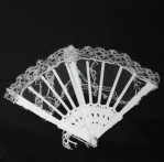"6"" White Lace Folding Fan (Min. 12)"