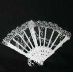 """6"""" White Lace Folding Fan (Min. 12)"""