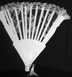 "9"" White Lace Folding Fan (Min. 12)"