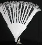 """9"""" White Lace Folding Fan (Min. 12)"""