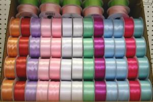 B46 - Wide Satin Ribbon Pastel Colours - Box 120 Spools @ $0.79/sp.